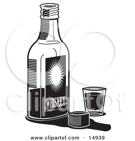 14939-Bottle-Of-Whiskey-By-A-Shot-Glass-In-A-Bar-Clipart-Illustration