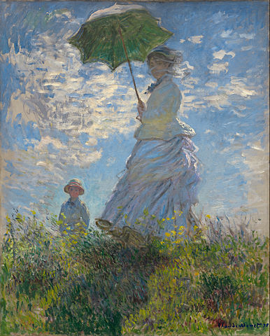 """Claude Monet - Woman with a Parasol - Madame Monet and Her Son - Google Art Project"" by Claude Monet - EwHxeymQQnprMg at Google Cultural Institute, zoom level maximum. Licensed under Public Domain via Commons - https://commons.wikimedia.org/wiki/File:Claude_Monet_-_Woman_with_a_Parasol_-_Madame_Monet_and_Her_Son_-_Google_Art_Project.jpg#/media/File:Claude_Monet_-_Woman_with_a_Parasol_-_Madame_Monet_and_Her_Son_-_Google_Art_Project.jpg"