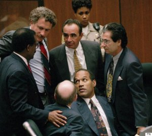 Johnnie L. Cochran Jr., Peter Neufeld, Robert Shapiro, Robert Kardashian, and Robert Blasier